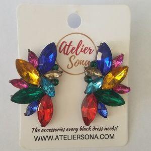 Rainbow Rhinestone Stud Earrings